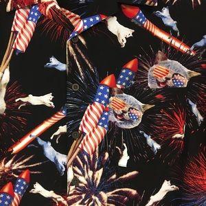 93781ed2 George Shirts   Nwt Cat Firework 4th July Button Down Mens Shirt ...